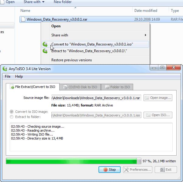 Как с архива сделать iso