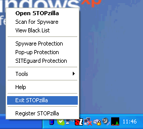 Uninstall StopZilla