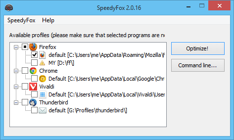 SpeedyFox - Boost Firefox, Skype, Chrome, Thunderbird in a